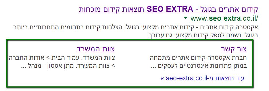 כלי מנהלי האתרים של גוגל sitelinks